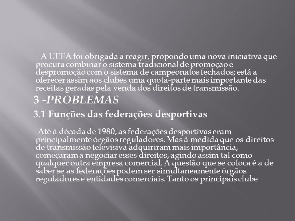 A UEFA foi obrigada a reagir, propondo uma nova iniciativa que procura combinar o sistema tradicional de promoção e despromoção com o sistema de campe
