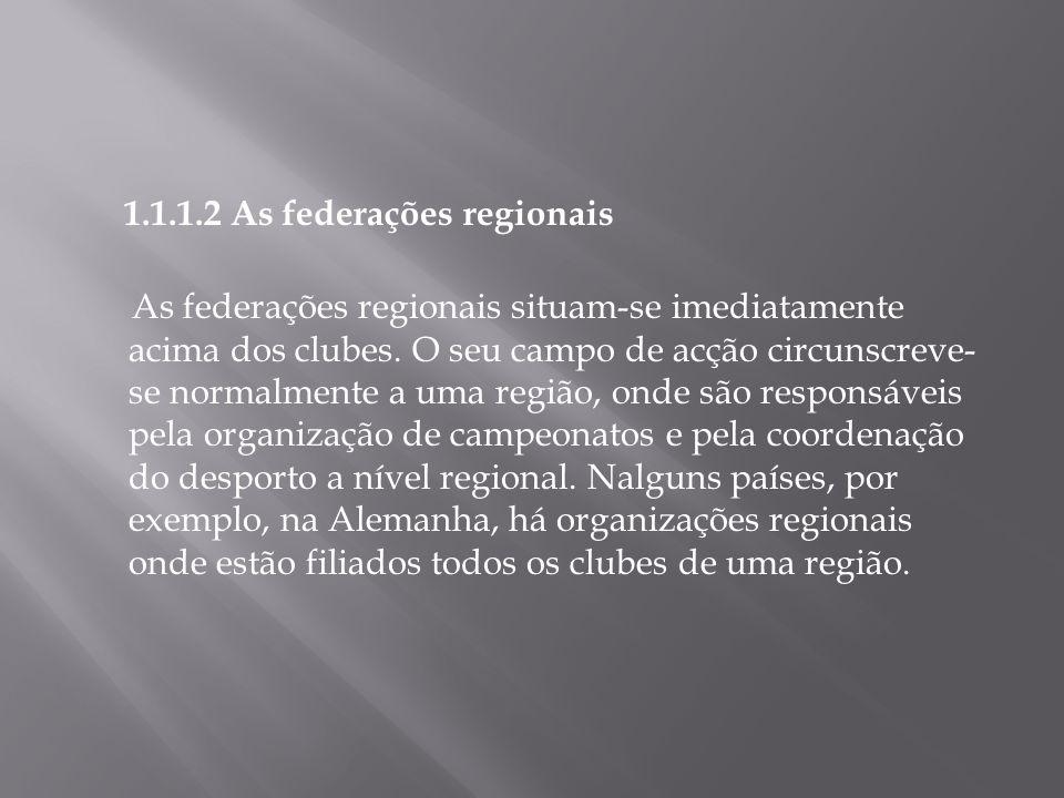 1.1.1.2 As federações regionais As federações regionais situam-se imediatamente acima dos clubes. O seu campo de acção circunscreve- se normalmente a