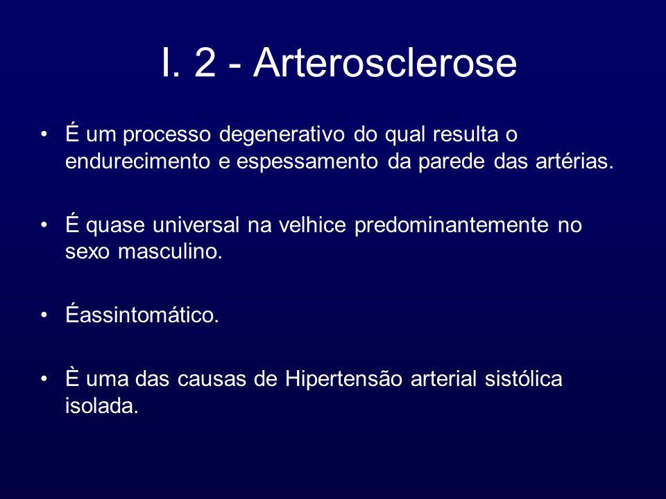 I. 2 - Arterosclerose É um processo degenerativo do qual resulta o endurecimento e espessamento da parede das artérias. É quase universal na velhice p