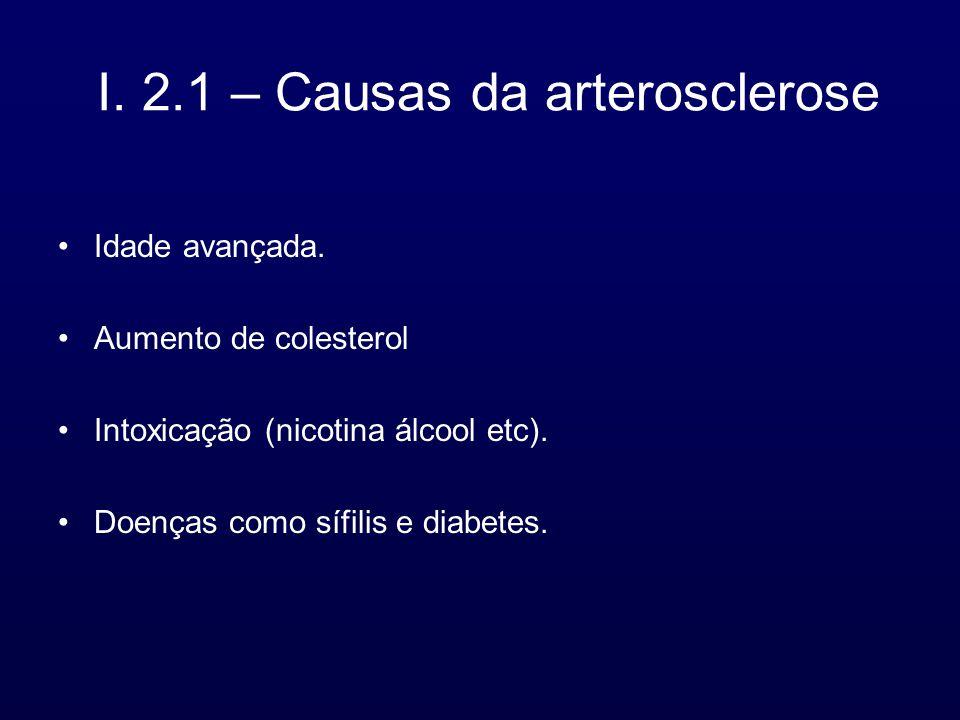 I. 2.1 – Causas da arterosclerose Idade avançada. Aumento de colesterol Intoxicação (nicotina álcool etc). Doenças como sífilis e diabetes.
