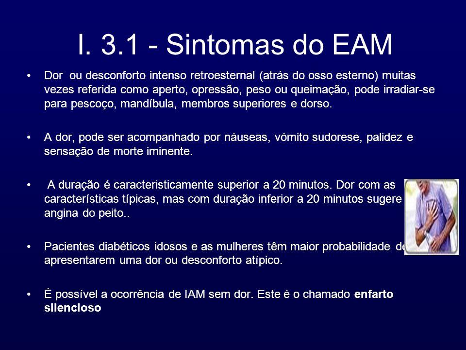 I. 3.1 - Sintomas do EAM Dor ou desconforto intenso retroesternal (atrás do osso esterno) muitas vezes referida como aperto, opressão, peso ou queimaç