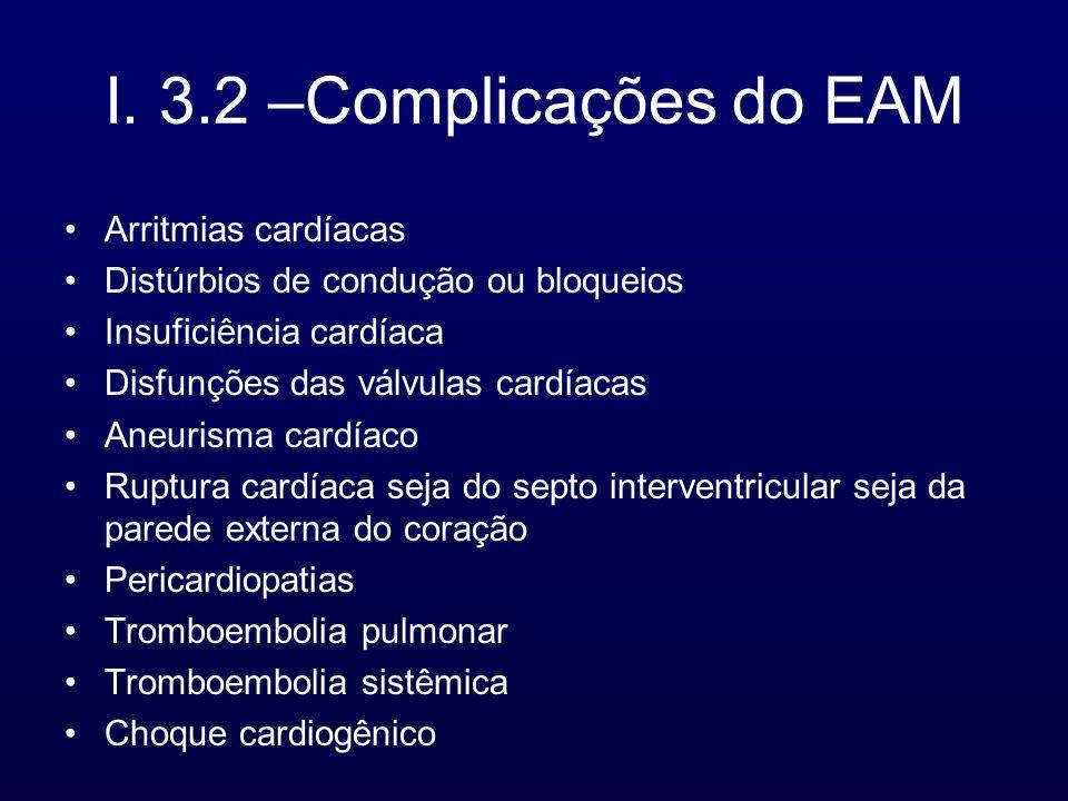 I. 3.2 –Complicações do EAM Arritmias cardíacas Distúrbios de condução ou bloqueios Insuficiência cardíaca Disfunções das válvulas cardíacas Aneurisma
