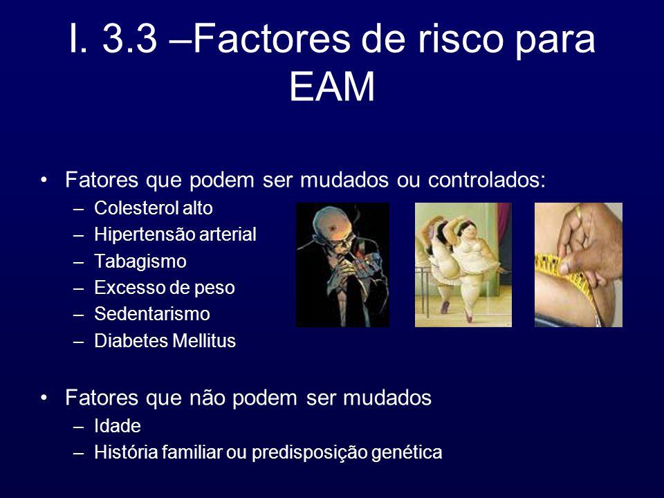 I. 3.3 –Factores de risco para EAM Fatores que podem ser mudados ou controlados: –Colesterol alto –Hipertensão arterial –Tabagismo –Excesso de peso –S