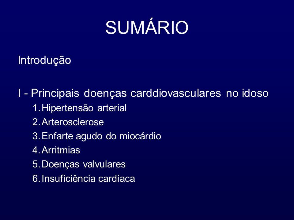 SUMÁRIO Introdução I - Principais doenças carddiovasculares no idoso 1.Hipertensão arterial 2.Arterosclerose 3.Enfarte agudo do miocárdio 4.Arritmias