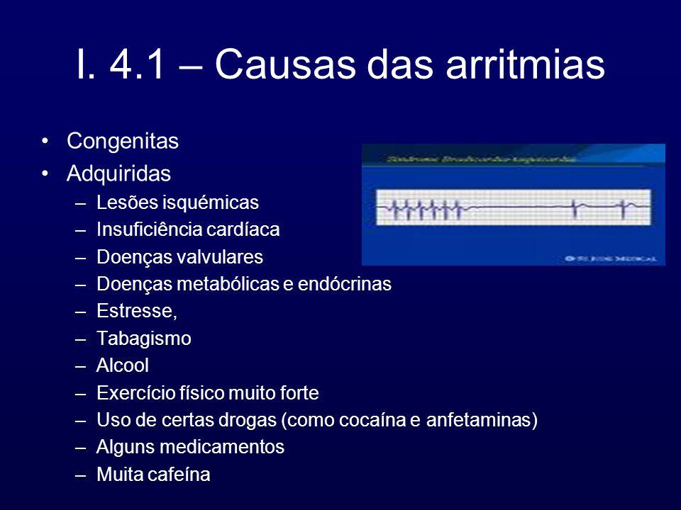 I. 4.1 – Causas das arritmias Congenitas Adquiridas –Lesões isquémicas –Insuficiência cardíaca –Doenças valvulares –Doenças metabólicas e endócrinas –