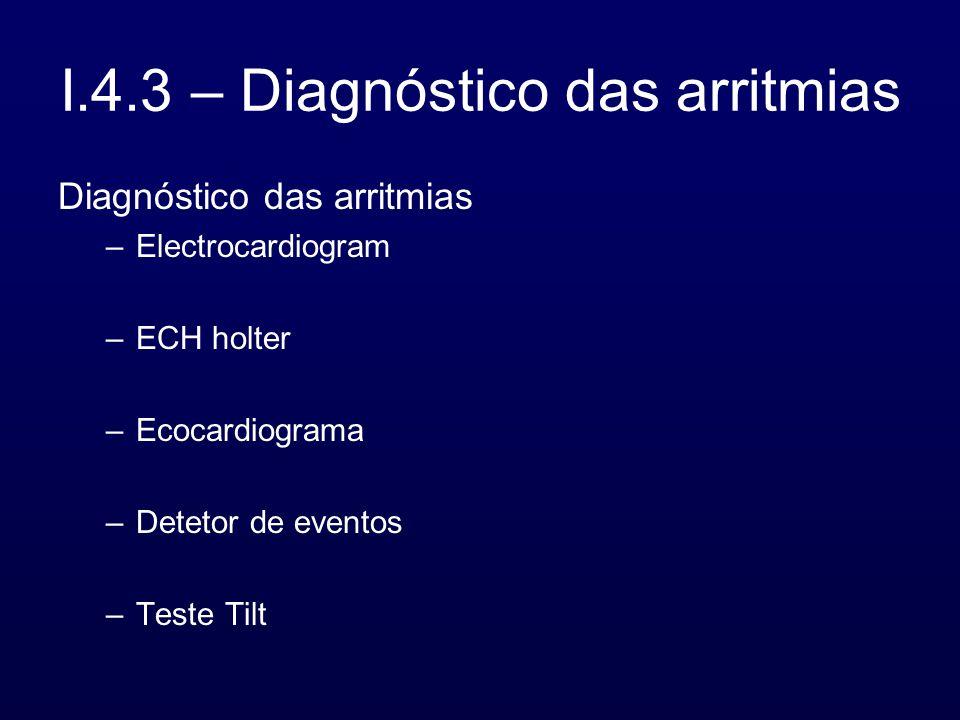 I.4.3 – Diagnóstico das arritmias Diagnóstico das arritmias –Electrocardiogram –ECH holter –Ecocardiograma –Detetor de eventos –Teste Tilt