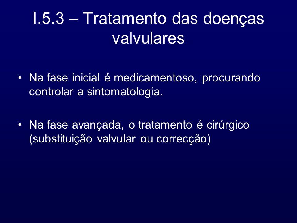 I.5.3 – Tratamento das doenças valvulares Na fase inicial é medicamentoso, procurando controlar a sintomatologia. Na fase avançada, o tratamento é cir