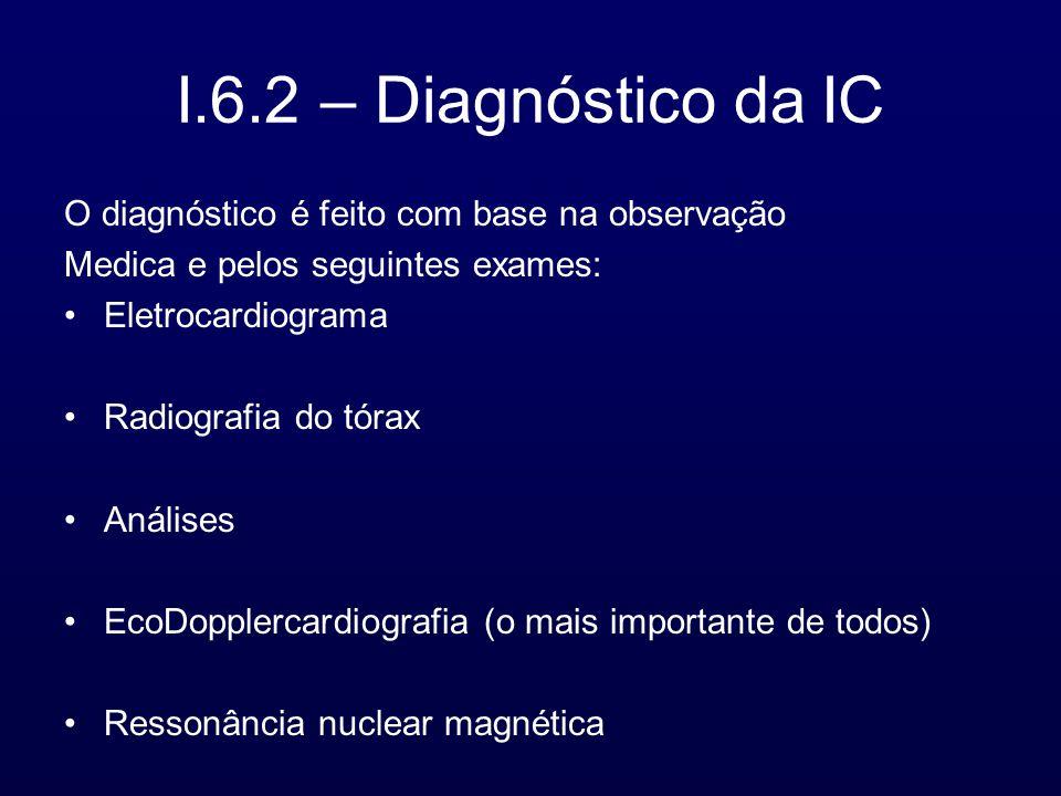 I.6.2 – Diagnóstico da IC O diagnóstico é feito com base na observação Medica e pelos seguintes exames: Eletrocardiograma Radiografia do tórax Análises EcoDopplercardiografia (o mais importante de todos) Ressonância nuclear magnética