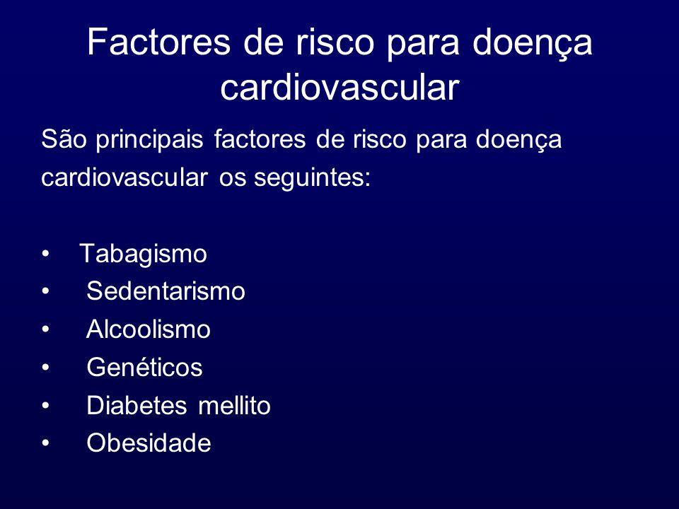 Factores de risco para doença cardiovascular São principais factores de risco para doença cardiovascular os seguintes: Tabagismo Sedentarismo Alcoolismo Genéticos Diabetes mellito Obesidade