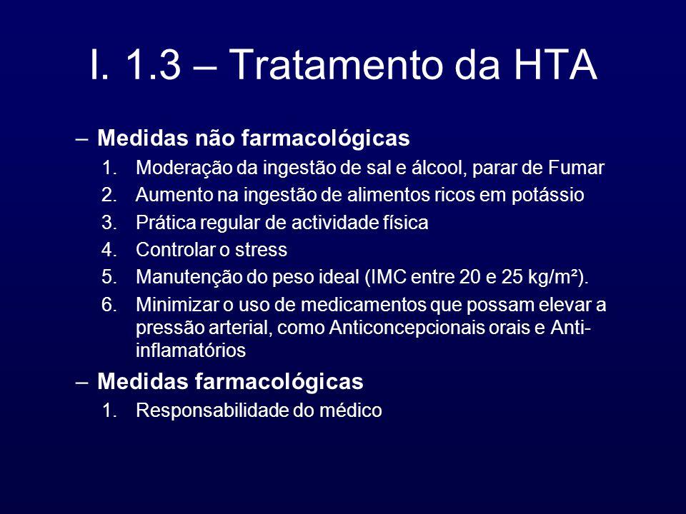 I. 1.3 – Tratamento da HTA –Medidas não farmacológicas 1.Moderação da ingestão de sal e álcool, parar de Fumar 2.Aumento na ingestão de alimentos rico