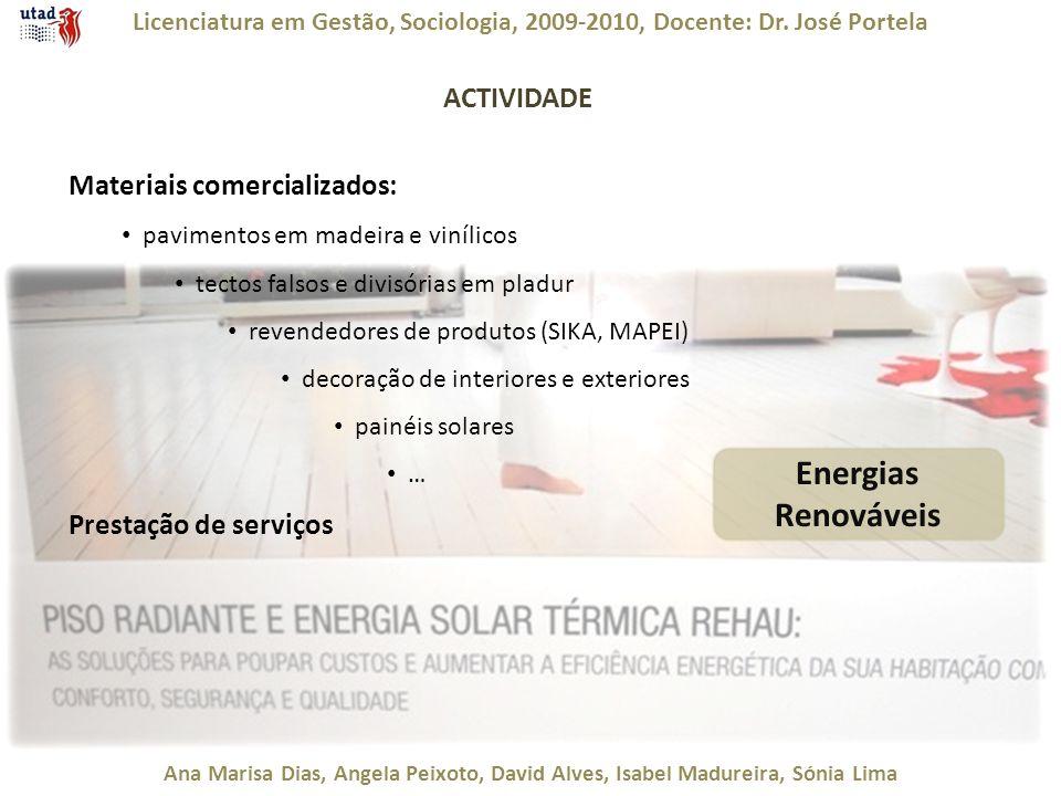Licenciatura em Gestão, Sociologia, 2009-2010, Docente: Dr. José Portela Ana Marisa Dias, Ângela Peixoto, David Alves, Isabel Madureira, Sónia Lima AC