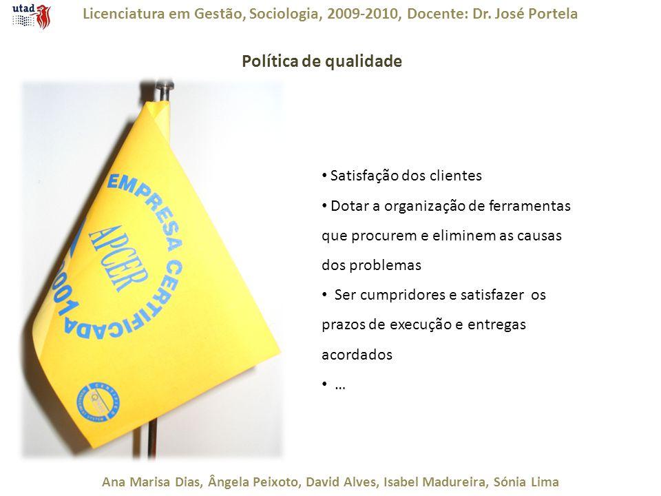 Licenciatura em Gestão, Sociologia, 2009-2010, Docente: Dr. José Portela Ana Marisa Dias, Ângela Peixoto, David Alves, Isabel Madureira, Sónia Lima Po
