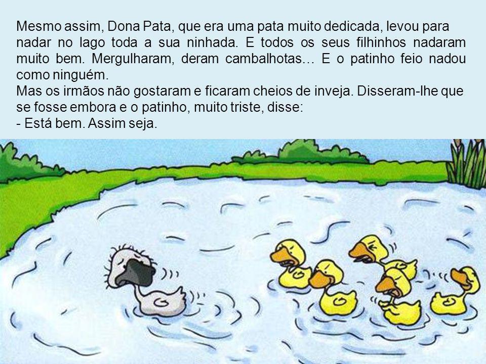 Mesmo assim, Dona Pata, que era uma pata muito dedicada, levou para nadar no lago toda a sua ninhada. E todos os seus filhinhos nadaram muito bem. Mer