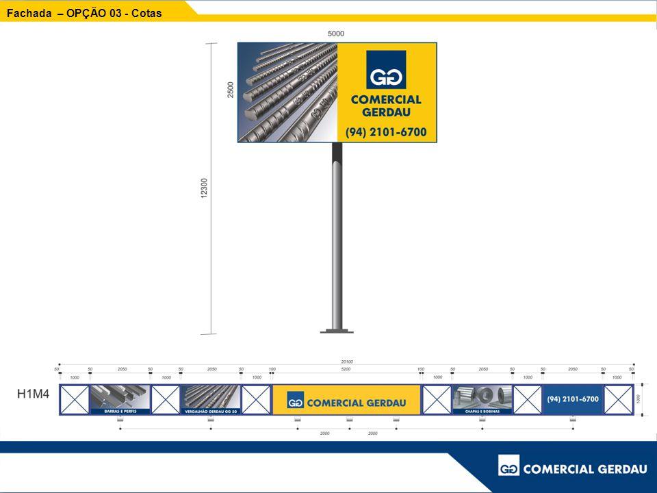 Fachada – Placas de Cerca As placas de cerca estarão em todas as opções 1,40 x 1,10 m
