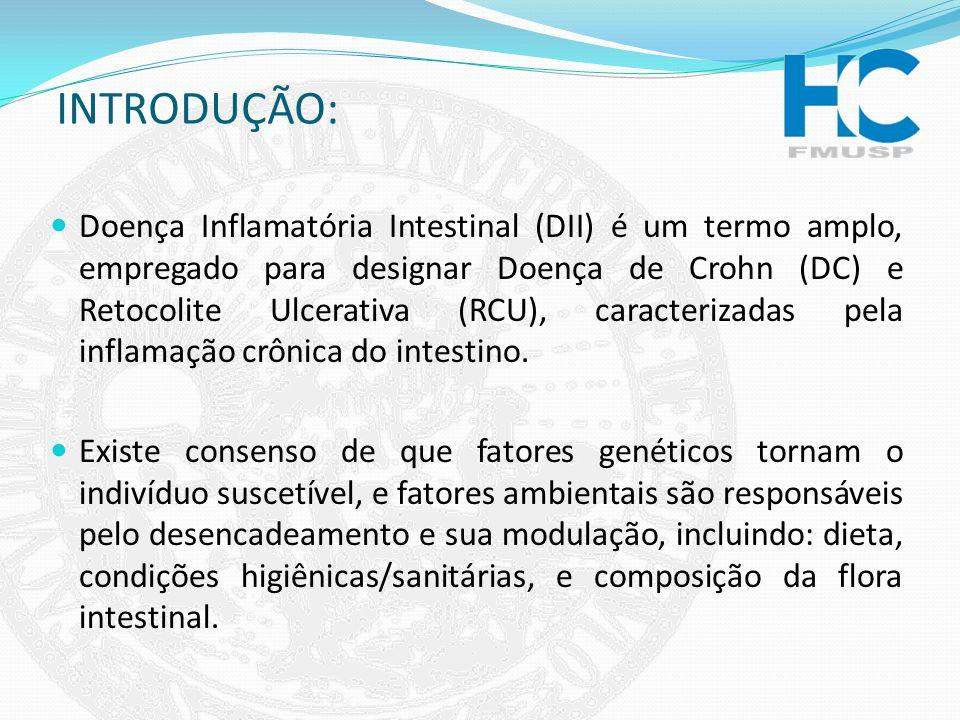 INTRODUÇÃO: Doença Inflamatória Intestinal (DII) é um termo amplo, empregado para designar Doença de Crohn (DC) e Retocolite Ulcerativa (RCU), caracte
