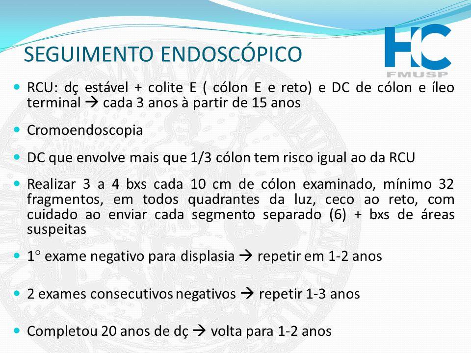 SEGUIMENTO ENDOSCÓPICO RCU: dç estável + colite E ( cólon E e reto) e DC de cólon e íleo terminal cada 3 anos à partir de 15 anos Cromoendoscopia DC q