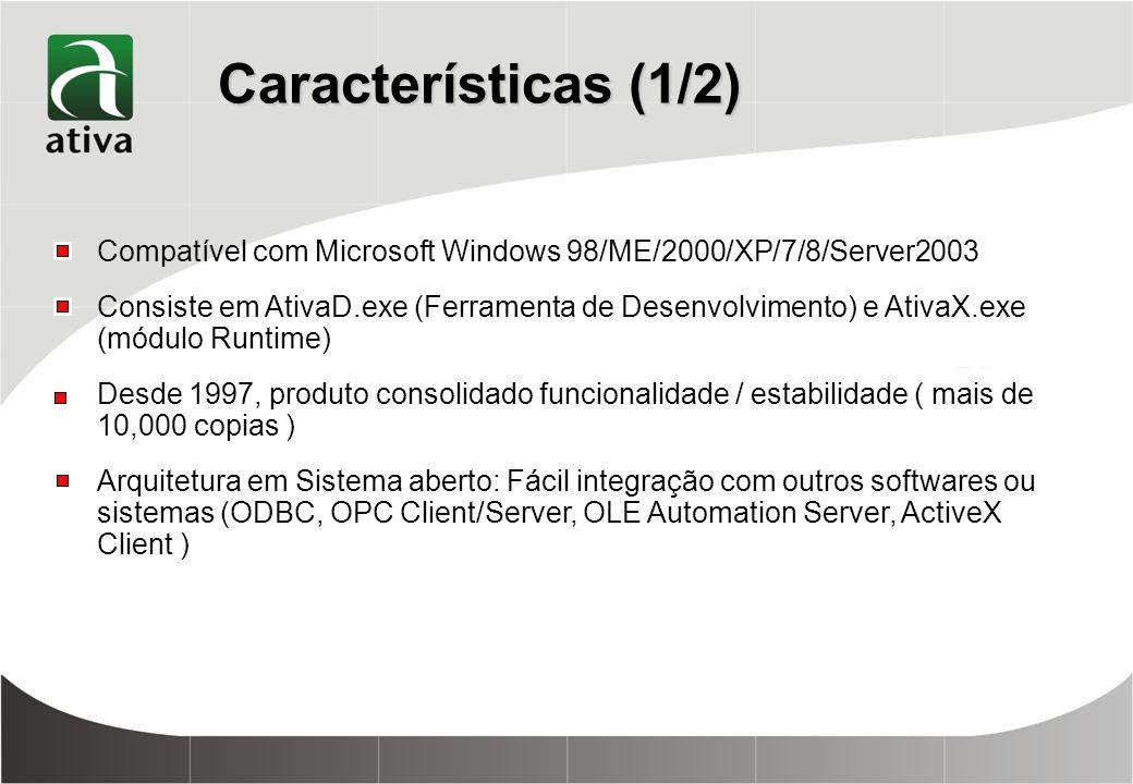 Características (1/2) Compatível com Microsoft Windows 98/ME/2000/XP/7/8/Server2003 Consiste em AtivaD.exe (Ferramenta de Desenvolvimento) e AtivaX.exe (módulo Runtime) Desde 1997, produto consolidado funcionalidade / estabilidade ( mais de 10,000 copias ) Arquitetura em Sistema aberto: Fácil integração com outros softwares ou sistemas (ODBC, OPC Client/Server, OLE Automation Server, ActiveX Client )