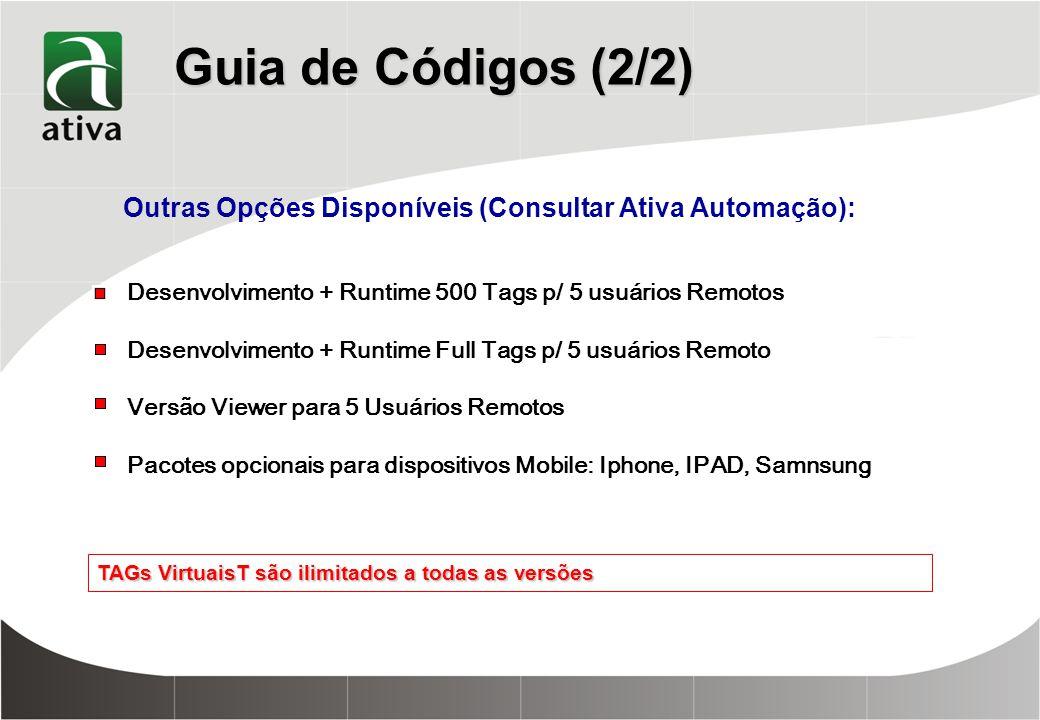 Guia de Códigos (2/2) TAGs VirtuaisT são ilimitados a todas as versões Outras Opções Disponíveis (Consultar Ativa Automação): Desenvolvimento + Runtime 500 Tags p/ 5 usuários Remotos Desenvolvimento + Runtime Full Tags p/ 5 usuários Remoto Versão Viewer para 5 Usuários Remotos Pacotes opcionais para dispositivos Mobile: Iphone, IPAD, Samnsung