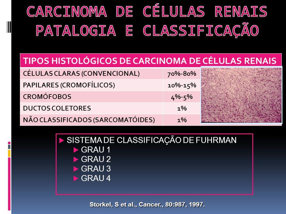TIPOS HISTOLÓGICOS DE CARCINOMA DE CÉLULAS RENAIS CÉLULAS CLARAS (CONVENCIONAL)70%-80% PAPILARES (CROMOFÍLICOS)10%-15% CROMÓFOBOS4%-5% DUCTOS COLETORES1% NÃO CLASSIFICADOS (SARCOMATÓIDES)1% Storkel, S et al., Cancer., 80:987, 1997.