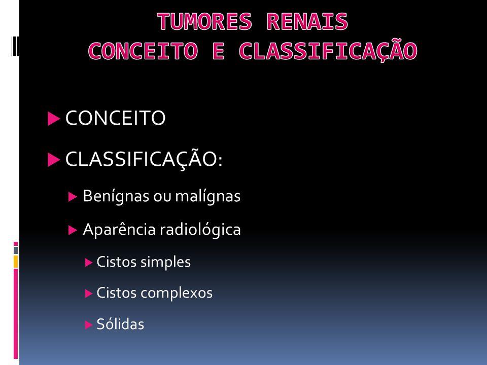 CONCEITO CLASSIFICAÇÃO: Benígnas ou malígnas Aparência radiológica Cistos simples Cistos complexos Sólidas