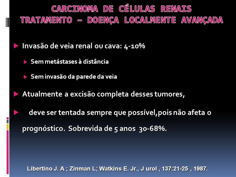 Invasão de veia renal ou cava: 4-10% Invasão de veia renal ou cava: 4-10% Sem metástases à distância Sem metástases à distância Sem invasão da parede da veia Sem invasão da parede da veia Atualmente a excisão completa desses tumores, Atualmente a excisão completa desses tumores, deve ser tentada sempre que possível,pois não afeta o prognóstico.