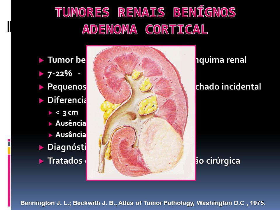 Tumor benígno mais comum do parênquima renal Tumor benígno mais comum do parênquima renal 7-22% - Autópsias 7-22% - Autópsias Pequenos, sólidos, assintomáticos, achado incidental Pequenos, sólidos, assintomáticos, achado incidental Diferenciação com carcinoma: Diferenciação com carcinoma: < 3 cm < 3 cm Ausência de calcificações Ausência de calcificações Ausência de necrose Ausência de necrose Diagnóstico patológico difícil Diagnóstico patológico difícil Tratados como carcinomas: exploração cirúrgica Tratados como carcinomas: exploração cirúrgica Bennington J.