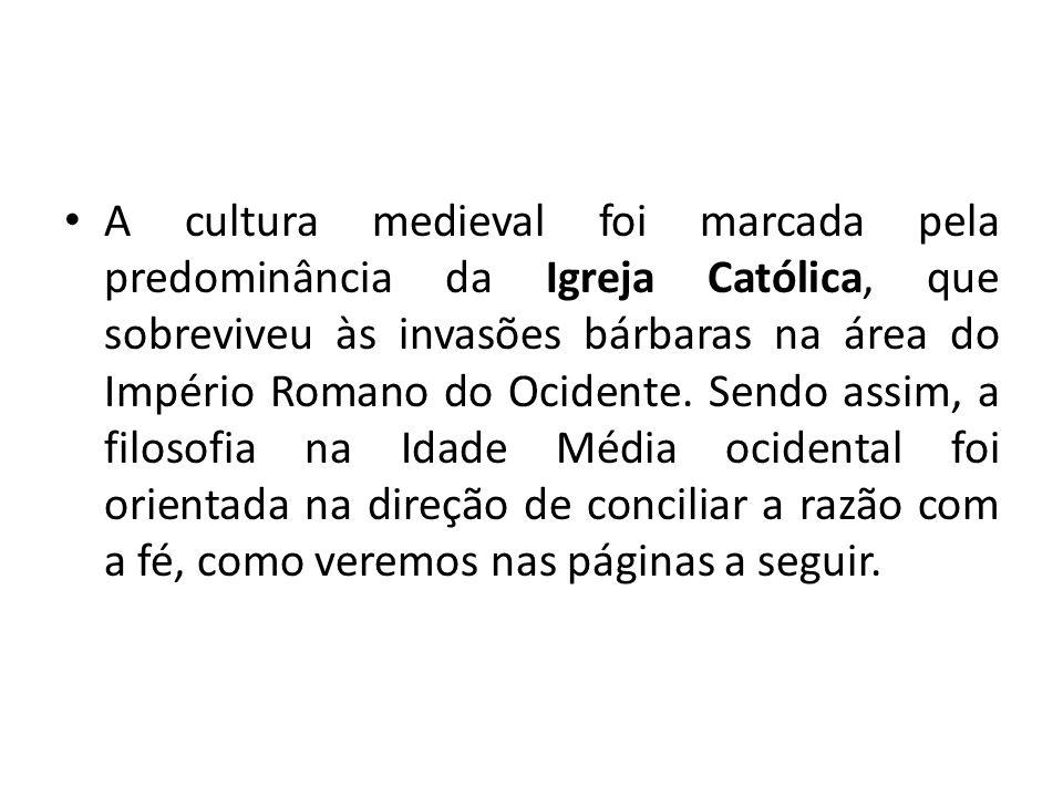 A cultura medieval foi marcada pela predominância da Igreja Católica, que sobreviveu às invasões bárbaras na área do Império Romano do Ocidente. Sendo