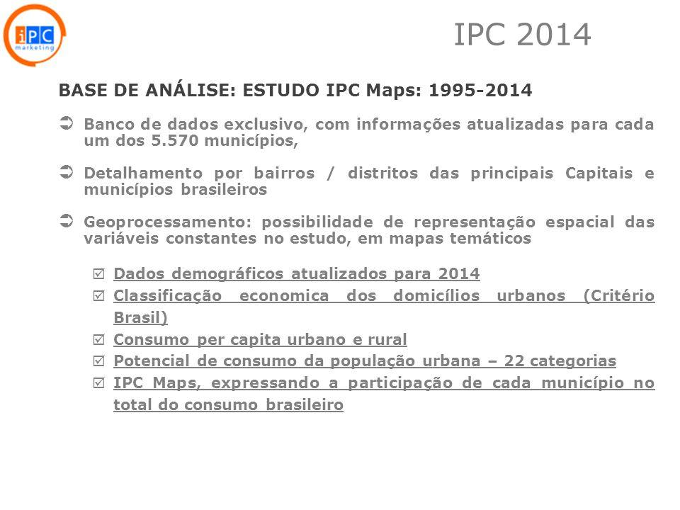 2 BASE DE ANÁLISE: ESTUDO IPC Maps: 1995-2014 Banco de dados exclusivo, com informações atualizadas para cada um dos 5.570 municípios, Detalhamento po