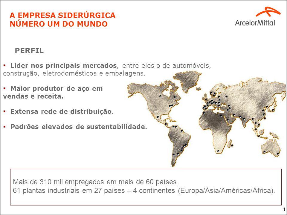 1 Mais de 310 mil empregados em mais de 60 países. 61 plantas industriais em 27 países – 4 continentes (Europa/Ásia/Américas/África). Líder nos princi