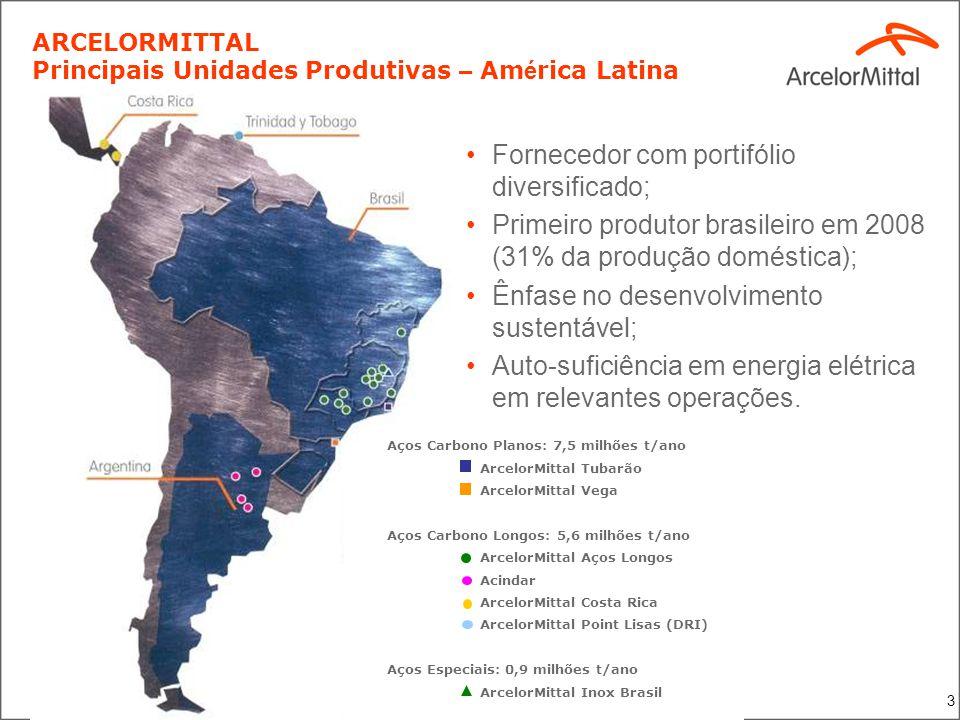 3 ARCELORMITTAL Principais Unidades Produtivas – Am é rica Latina 5,6 milhões t/ano Fornecedor com portifólio diversificado; Primeiro produtor brasile