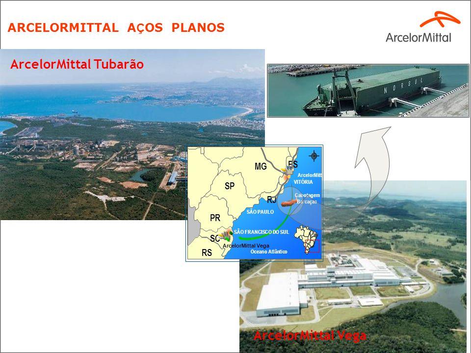 4 ArcelorMittal Tubarão ARCELORMITTAL A Ç OS PLANOS VITÓRIA ArcelorMittal Tubarão SÃO PAULO SÃO FRANCISCO DO SUL RS SC PR SP MG RJ Oceano Atlântico ES