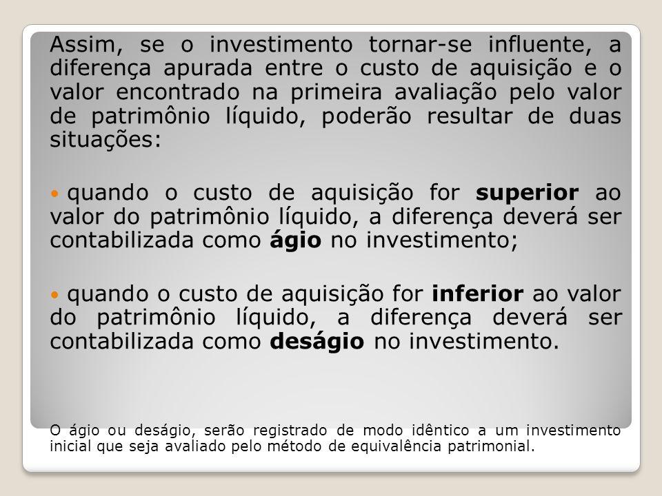 Assim, se o investimento tornar-se influente, a diferença apurada entre o custo de aquisição e o valor encontrado na primeira avaliação pelo valor de
