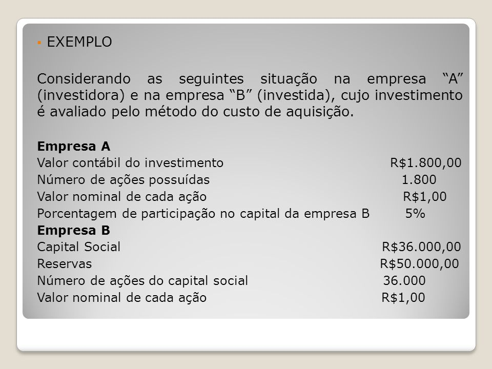 EXEMPLO Considerando as seguintes situação na empresa A (investidora) e na empresa B (investida), cujo investimento é avaliado pelo método do custo de