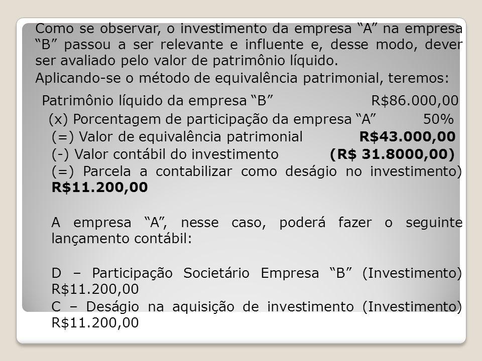 OBS.: A alteração no método de contabilização do investimento, pela ocorrência de condições novas, não afeta a norma de uniformidade.