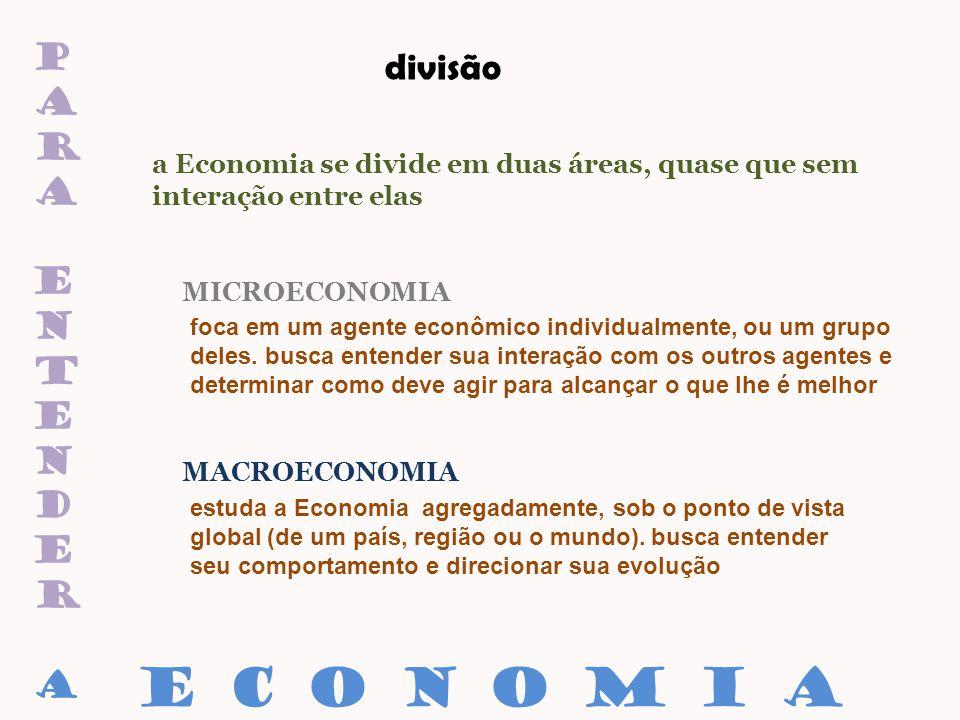 paraentenderaparaentendera divisão a Economia se divide em duas áreas, quase que sem interação entre elas MICROECONOMIA MACROECONOMIA E C O N O M I A