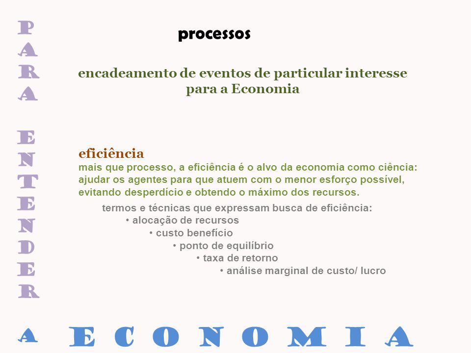 paraentenderaparaentendera processos encadeamento de eventos de particular interesse para a Economia eficiência E C O N O M I A termos e técnicas que