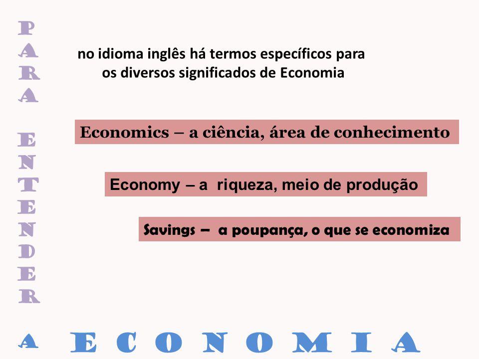paraentenderaparaentendera no idioma inglês há termos específicos para os diversos significados de Economia Economics – a ciência, área de conheciment