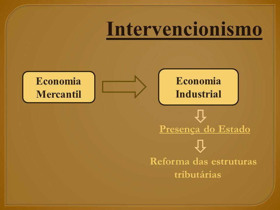 Economia Mercantil Economia Industrial Presença do Estado Reforma das estruturas tributárias Intervencionismo