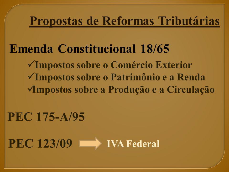 Propostas de Reformas Tributárias Emenda Constitucional 18/65 Impostos sobre o Comércio Exterior Impostos sobre o Patrimônio e a Renda Impostos sobre a Produção e a Circulação PEC 175-A/95 PEC 123/09 IVA Federal