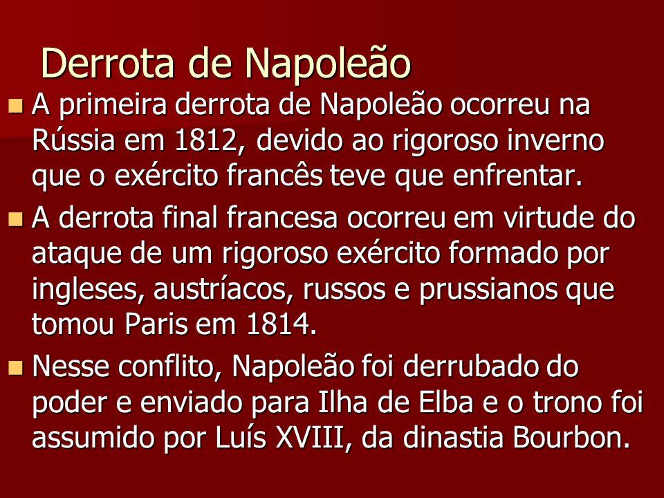 Derrota de Napoleão A primeira derrota de Napoleão ocorreu na Rússia em 1812, devido ao rigoroso inverno que o exército francês teve que enfrentar. A