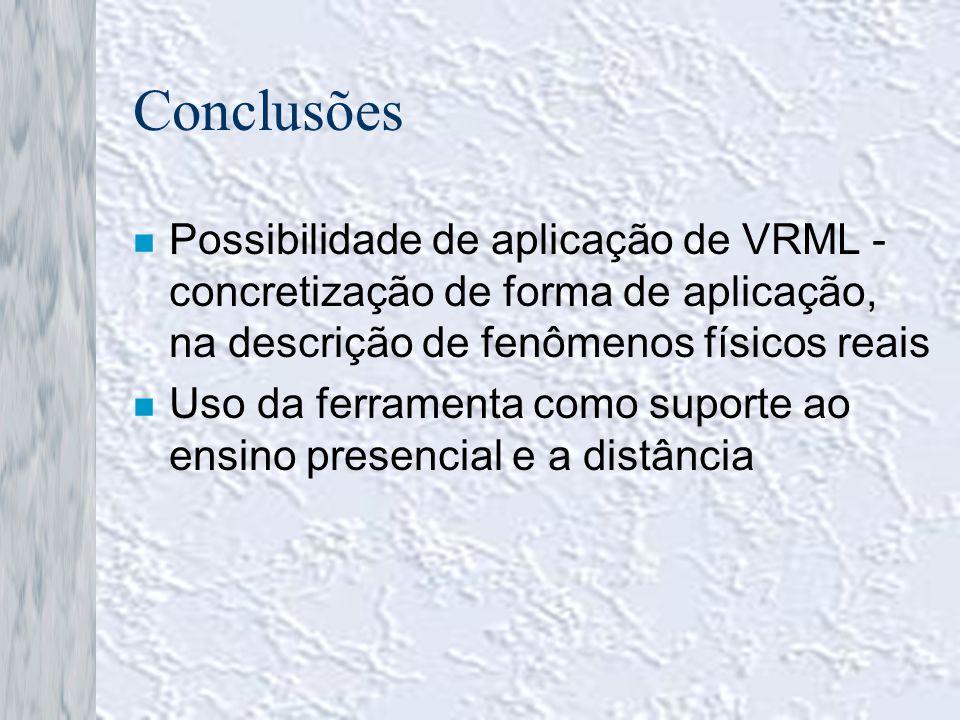 Conclusões n Possibilidade de aplicação de VRML - concretização de forma de aplicação, na descrição de fenômenos físicos reais n Uso da ferramenta com