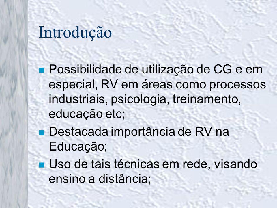 Introdução n Possibilidade de utilização de CG e em especial, RV em áreas como processos industriais, psicologia, treinamento, educação etc; n Destaca