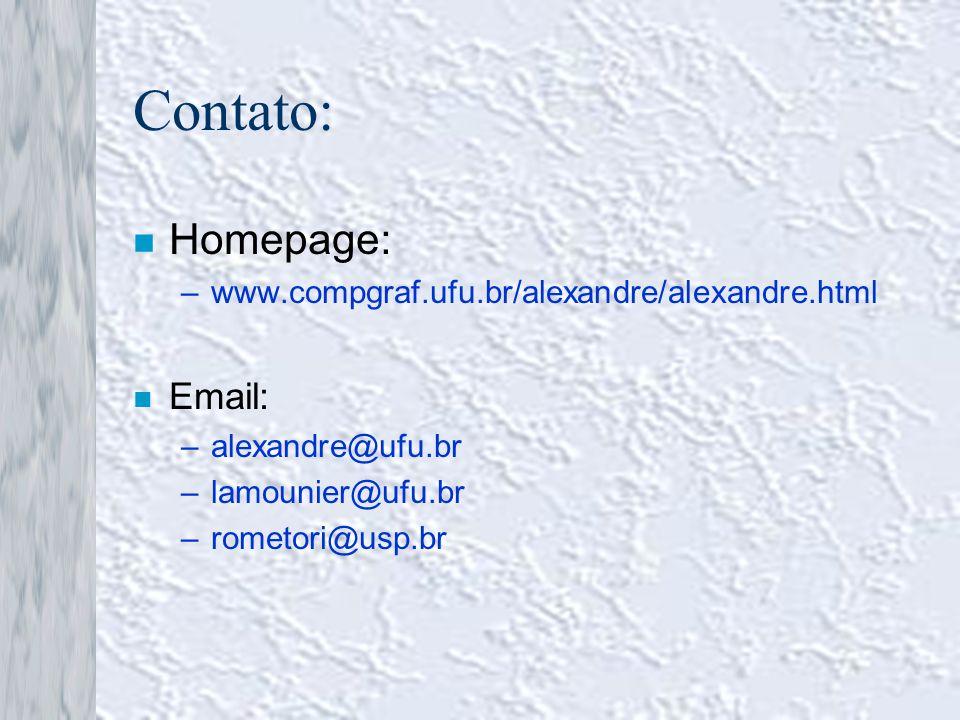 Contato: n Homepage: –www.compgraf.ufu.br/alexandre/alexandre.html n Email: –alexandre@ufu.br –lamounier@ufu.br –rometori@usp.br