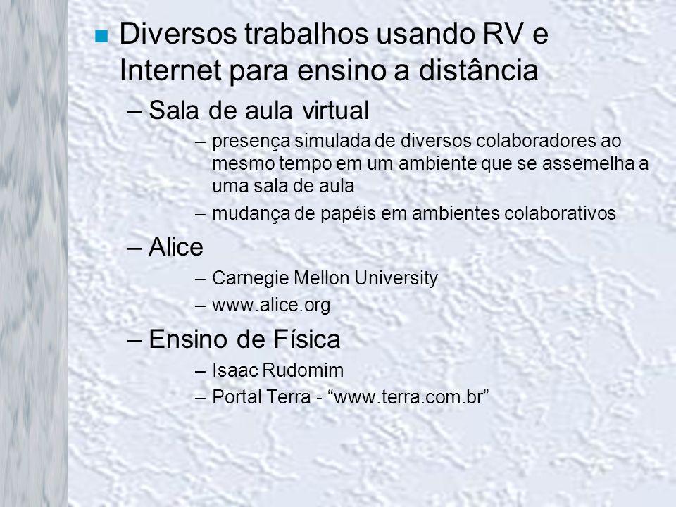 n Diversos trabalhos usando RV e Internet para ensino a distância –Sala de aula virtual –presença simulada de diversos colaboradores ao mesmo tempo em