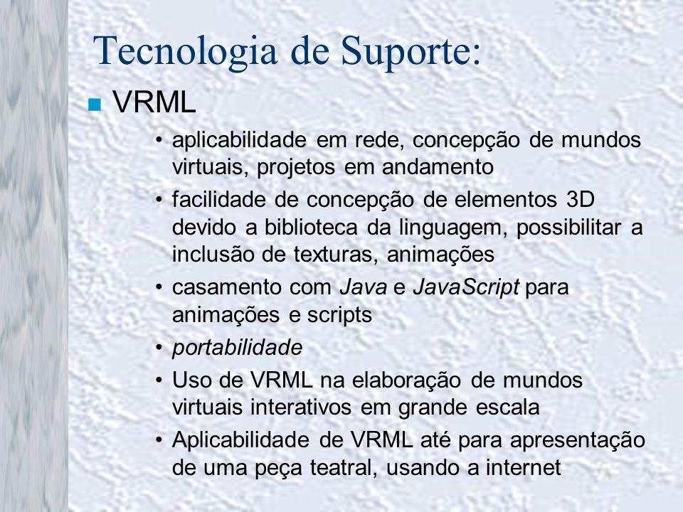 Tecnologia de Suporte: n VRML aplicabilidade em rede, concepção de mundos virtuais, projetos em andamento facilidade de concepção de elementos 3D devi
