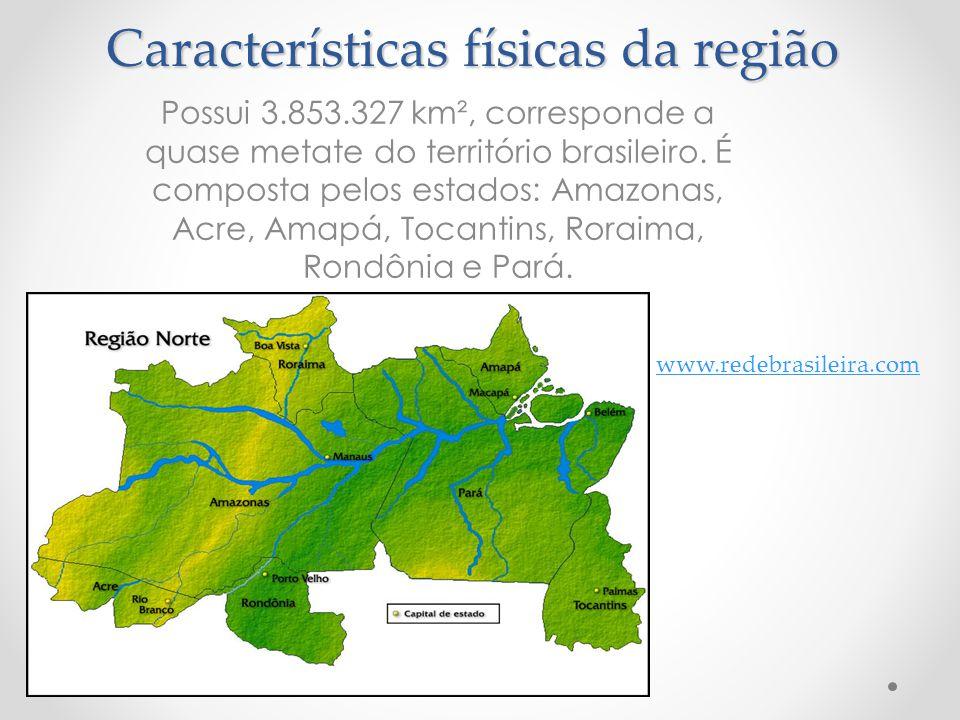 Características físicas da região Possui 3.853.327 km², corresponde a quase metate do território brasileiro. É composta pelos estados: Amazonas, Acre,