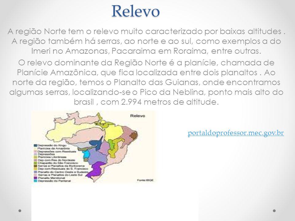 Relevo A região Norte tem o relevo muito caracterizado por baixas altitudes. A região também há serras, ao norte e ao sul, como exemplos a do Imeri no