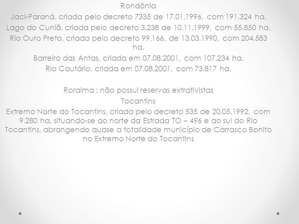 Rondônia Jaci-Paraná, criada pelo decreto 7335 de 17.01.1996, com 191,324 ha. Lago do Cuniã, criada pelo decreto 3.238 de 10.11.1999, com 55.850 ha. R