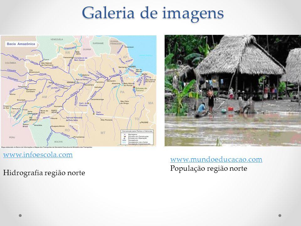 Galeria de imagens www.infoescola.com Hidrografia região norte www.mundoeducacao.com População região norte