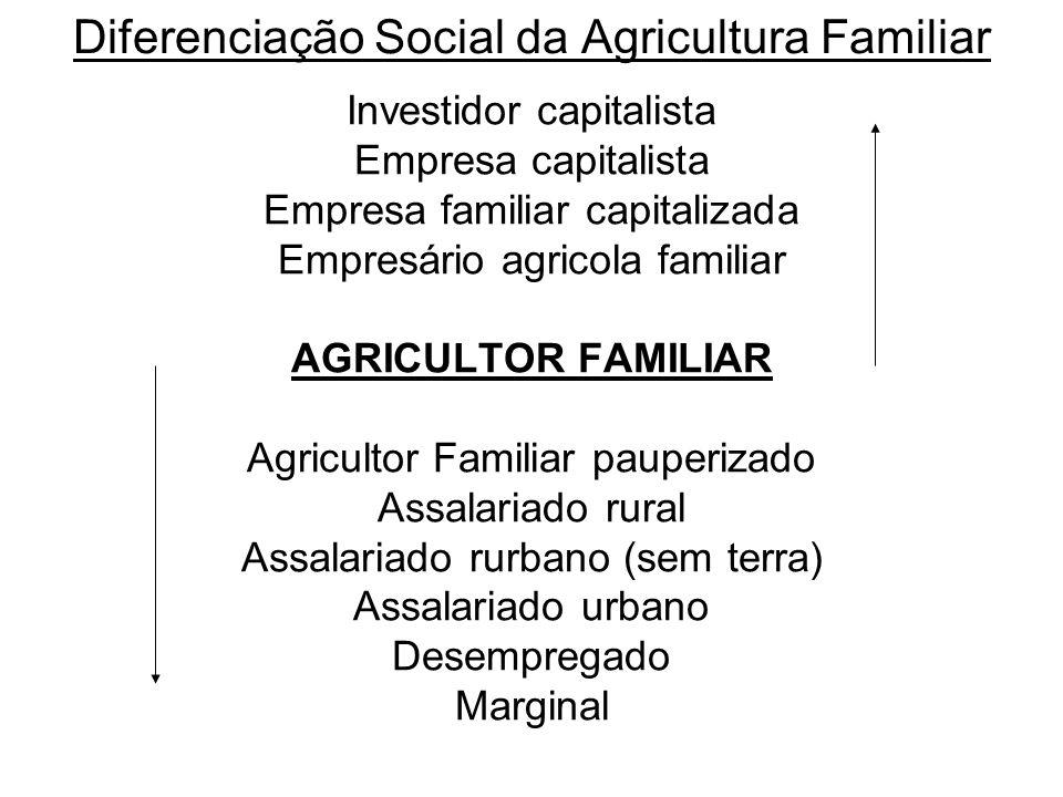 Diferenciação Social da Agricultura Familiar Investidor capitalista Empresa capitalista Empresa familiar capitalizada Empresário agricola familiar AGR